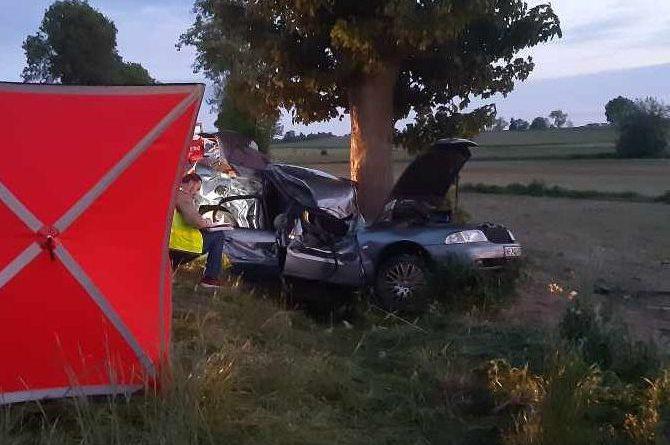 Śmiertelny wypadek w Rembielinie. 20 – letni kierowca zginął na miejscu